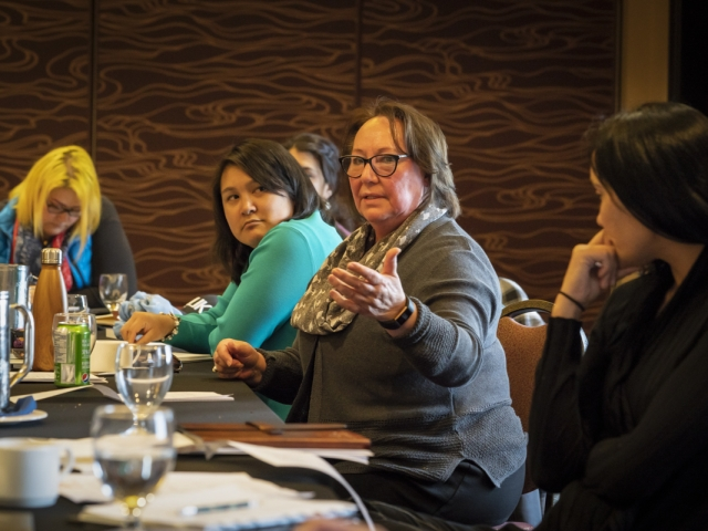 Sheila Watt Cloutier with the Jane Glassco Fellows in Iqaluit, 2018