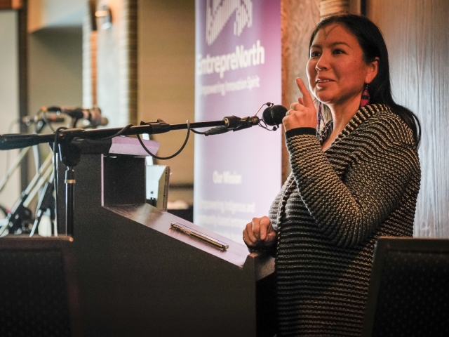 Alethea Arnagaq-Baril gives keynote speech at EntrepreNorth, Iqaluit 2018