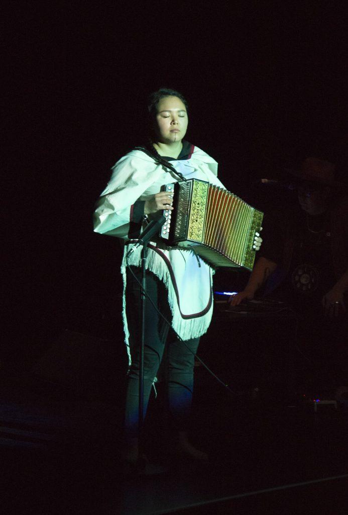 Christine Tootoo on button accordion.