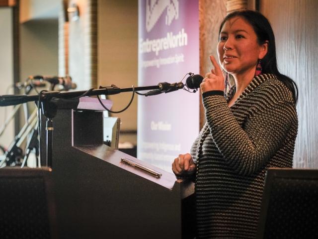 Alethea Arnagaq-Baril gives keynote speech at EntrepreNorth, Iqaluit 2018