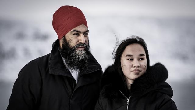 Mumilaaq Qaqqaq and Jagmeet Singh in Apex, Nunavut